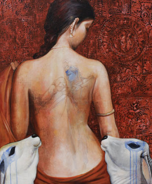 emotional attachment i by Jiban Biswas, Expressionism Painting, Acrylic on Canvas, Brown color