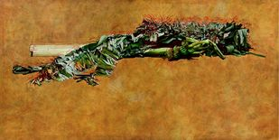 The Fallen Warrior by V Ramesh, Abstract Painting, Oil on Canvas, Brown color
