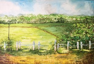 Fields by Kajal Nalwa, Painting, Watercolor on Paper, Beige color