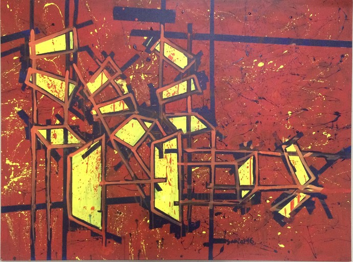 chaos of Meeting by Saikat Chakraborty, Impressionism Painting, Acrylic on Canvas, Brown color