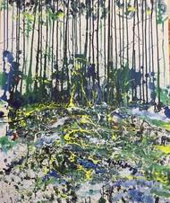 jungle 2 by Saikat Chakraborty, Abstract Painting, Acrylic on Canvas, Gray color