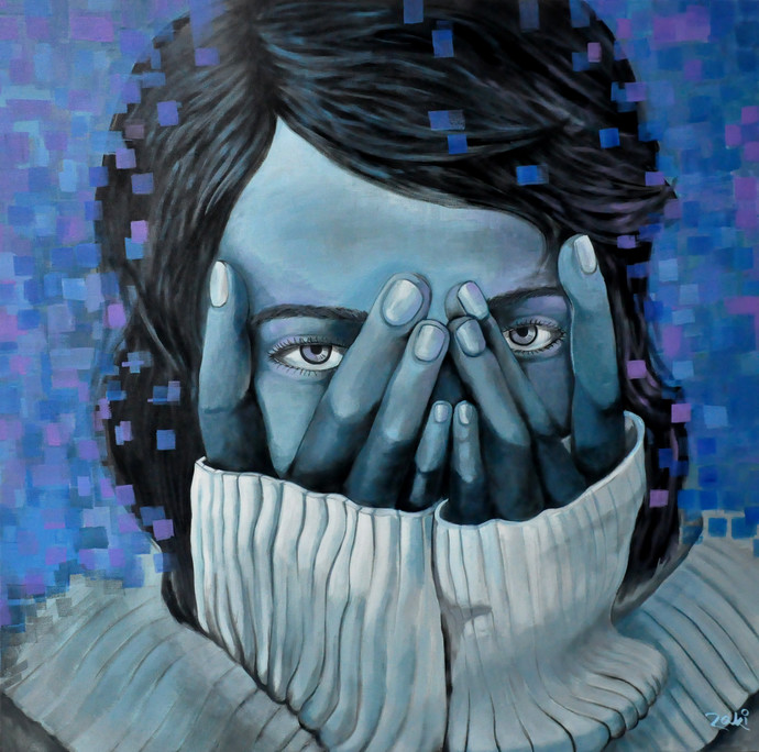 Eyes tell the Truth by Studio Zaki, Expressionism Painting, Acrylic on Canvas, Blue color