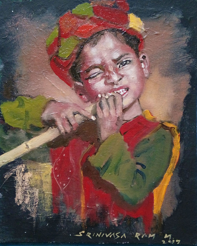 Sugarcane Boy by Sreenivasa Ram Makineedi, Realism Painting, Oil on Canvas Board, Brown color