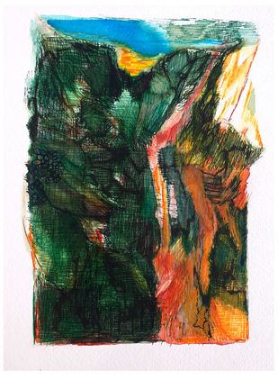 Deep forest, lighted by Debabrata Hazra, Impressionism Painting, Mixed Media and Pen on Paper, Brown color