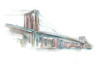 Watercolor Bridge Sketch II Digital Print by Harper, Ethan,Decorative