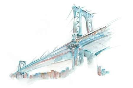 Watercolor Bridge Sketch I Digital Print by Harper, Ethan,Decorative
