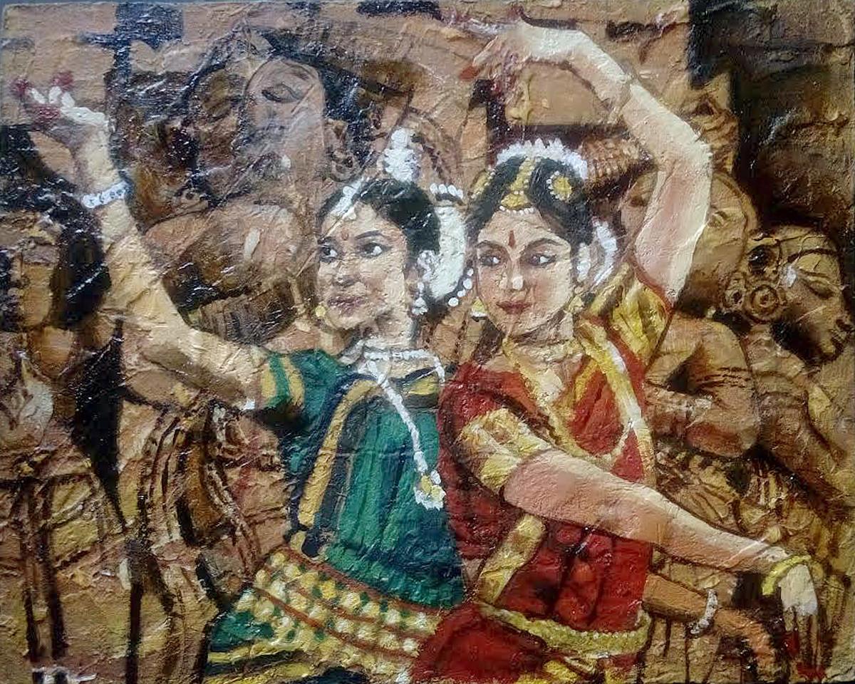 Dancers by Sreenivasa Ram Makineedi, Photorealism Painting, Mixed Media on Board, Brown color