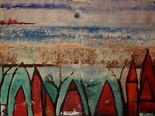 Kochi 2 by Pratap SJB Rana, Expressionism Painting, Acrylic on Canvas, Brown color