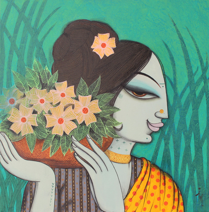 face 33 by Varsha Kharatmal, Decorative Painting, Acrylic & Graphite on Canvas, Green color