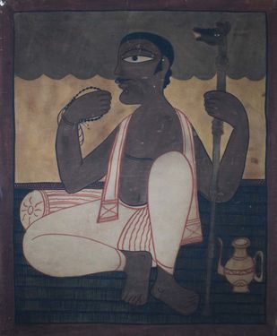 Chaksudan Painting by Unknown Artist, Folk Painting, Watercolor on Paper, Gray color