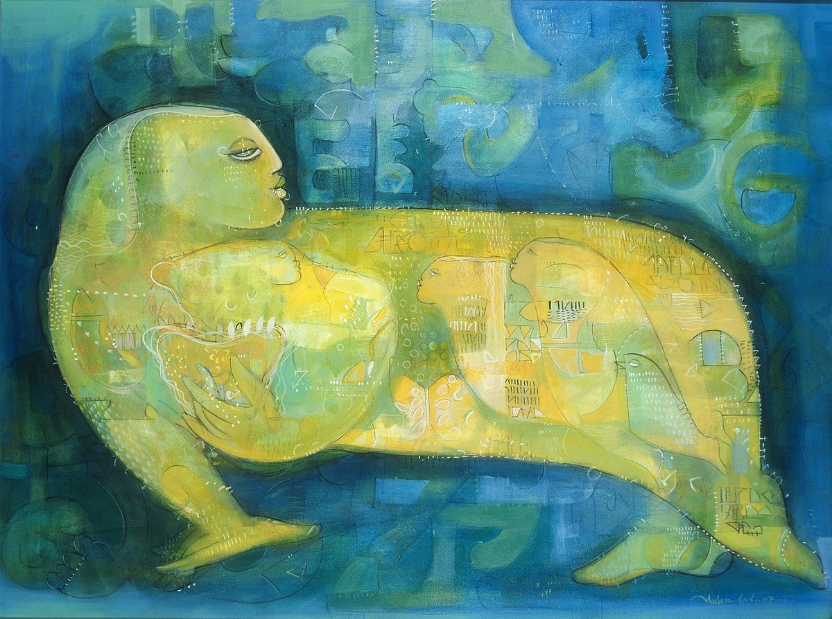 JOURNEY WITHIN by Madan Lal, Expressionism Painting, Acrylic on Canvas, Green color