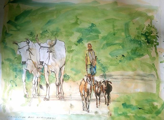 Village scene by Sreenivasa Ram Makineedi, Impressionism Painting, Watercolor on Paper, Green color