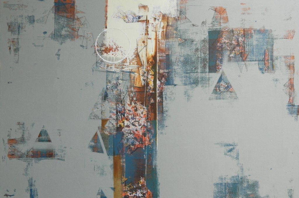 untitled by Stalin P J, Geometrical Painting, Acrylic on Canvas, Gray color