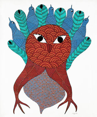 Gond Painting by Unknown Artist, Folk Painting, Acrylic & Ink on Canvas, Brown color