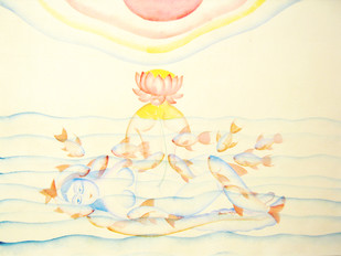 Shristi by KALAM PATUA, Expressionism Painting, Watercolor on Paper, Beige color