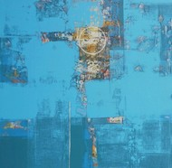untitled by Stalin P J, Geometrical Painting, Acrylic on Canvas, Cyan color