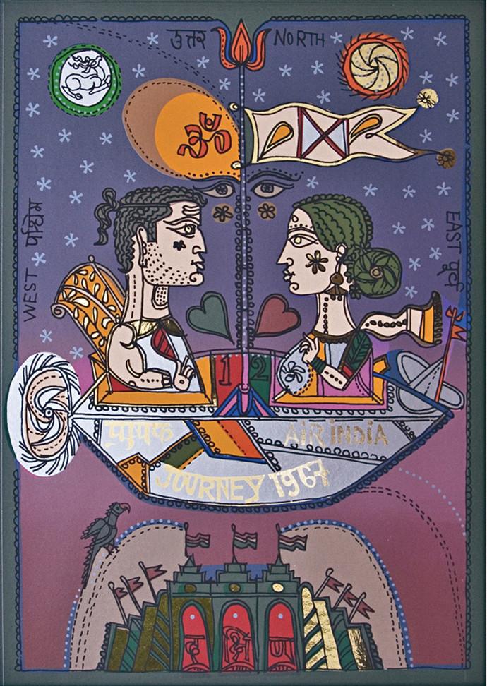 Home Coming by Jyoti Bhatt, Pop Art Printmaking, Serigraph on Paper, Brown color