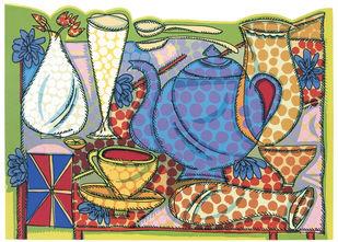Villayatea Table by Jyoti Bhatt, Pop Art Printmaking, Serigraph on Paper, Beige color