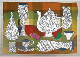 Teateallation by Jyoti Bhatt, Pop Art Printmaking, Serigraph on Paper, Brown color