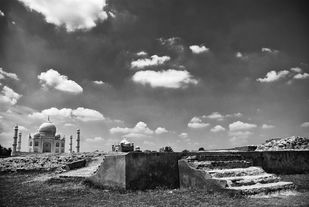 Taj by Subhajit Dutta, Image Photography, Digital Print on Paper, Gray color