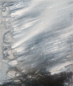 SAND & SEA SERIES - GREY by Adil Writer, Abstract Painting, Acrylic on Canvas, Gray color