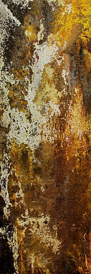 SAND SERIES- YELLOW by Adil Writer, Abstract Painting, Acrylic on Canvas, Brown color