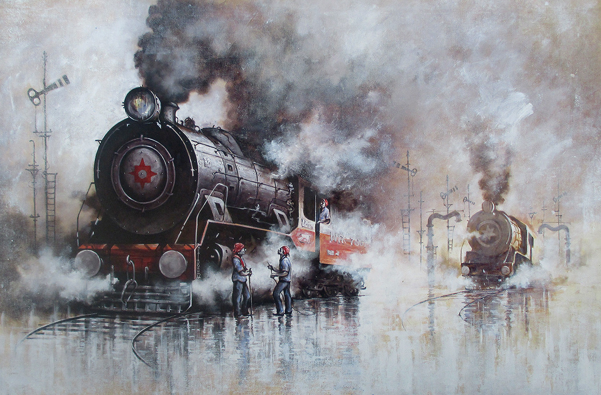 Indian Steam Locomotives 31 by Kishore Pratim Biswas, Realism Painting, Acrylic on Canvas, Gray color