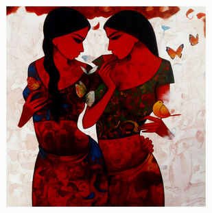 Two sister by Mukesh Salvi, Expressionism Painting, Acrylic on Canvas, Brown color