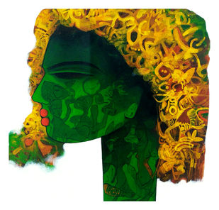 Green beauty by Mukesh Salvi, Pop Art Painting, Acrylic on Canvas, Green color