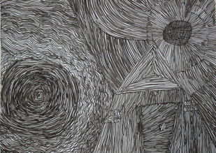 untitled by Subhranil Das, Abstract Drawing, Pen on Paper, Black color