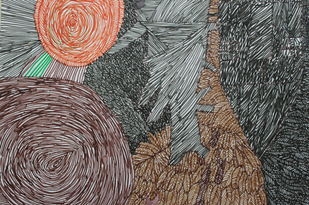 untitled by Subhranil Das, Abstract Drawing, Pen on Paper, Red color