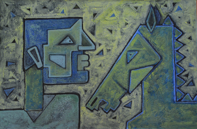 Friends - III by Amit Rajvanshi, Geometrical Painting, Acrylic on Canvas, Green color