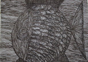 FISH by Subhranil Das, Abstract Drawing, Pen on Paper, Black color