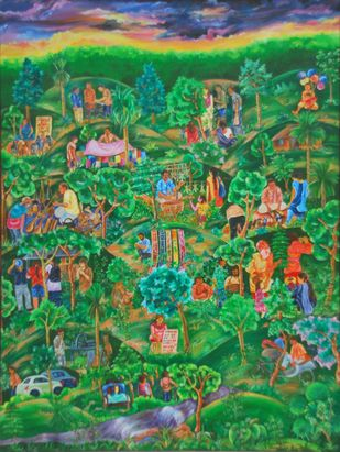 Saturday..sonajuri... by Raka Panda, Impressionism Painting, Acrylic on Canvas, Green color