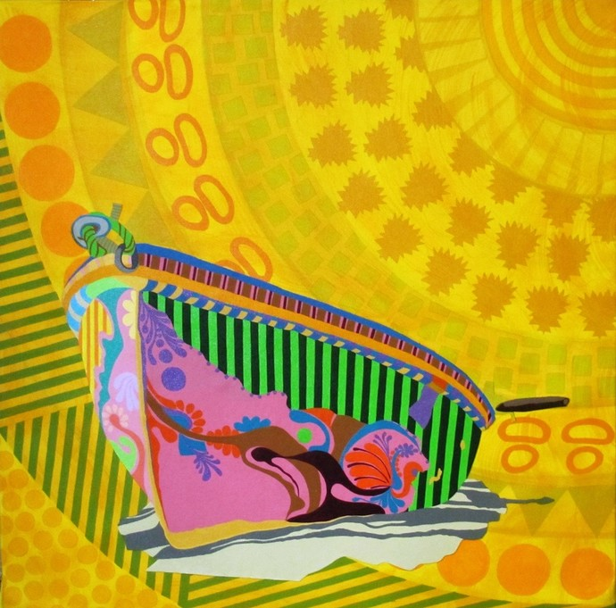 Colaj Boat With Nature by Barkha jain, Expressionism Painting, Mixed Media on Canvas, Yellow color