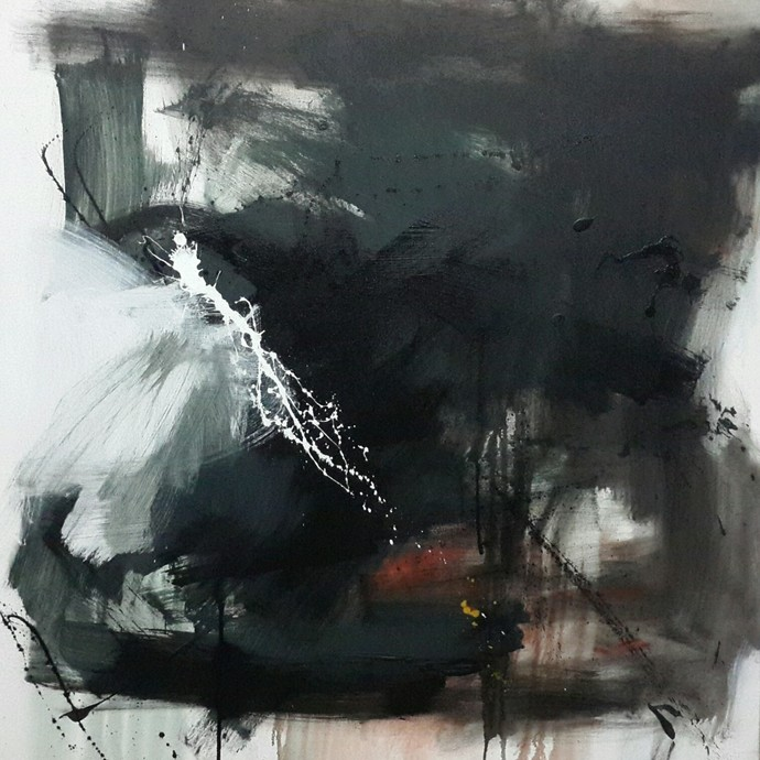 Space ( series ) by Gulrez Ali, Abstract Painting, Acrylic & Ink on Canvas, Gray color