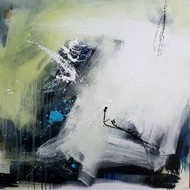 Space ( series ) by Gulrez Ali, Abstract Painting, Mixed Media on Canvas, Gray color