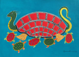 Gond Painting by Unknown Artist, Folk Painting, Acrylic on Paper, Blue color