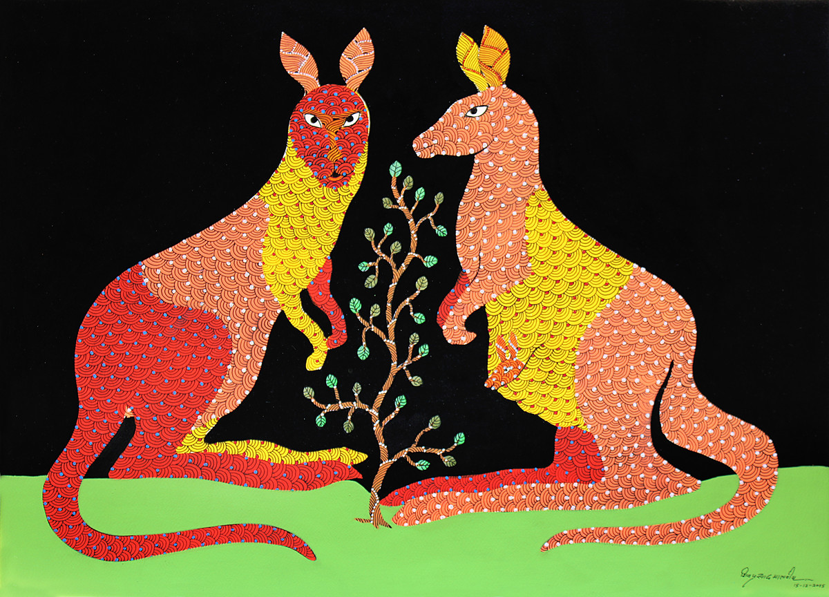Gond Painting by Unknown Artist, Folk Painting, Acrylic on Paper, Brown color