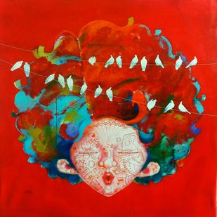 The childhood vii by shiv kumar soni, Expressionism Painting, Acrylic on Canvas, Red color