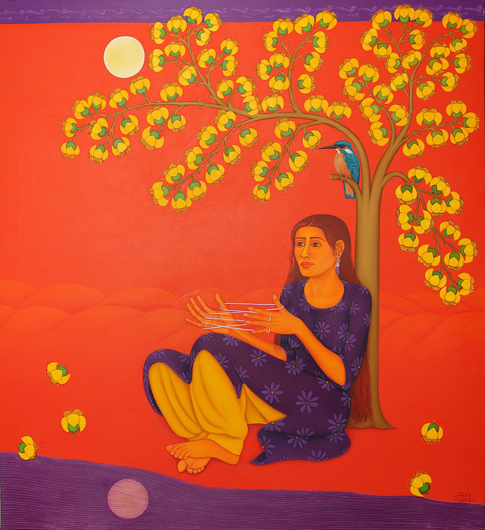 Tryst With Nature by Sabia Khan, Expressionism Painting, Oil on Canvas, Orange color