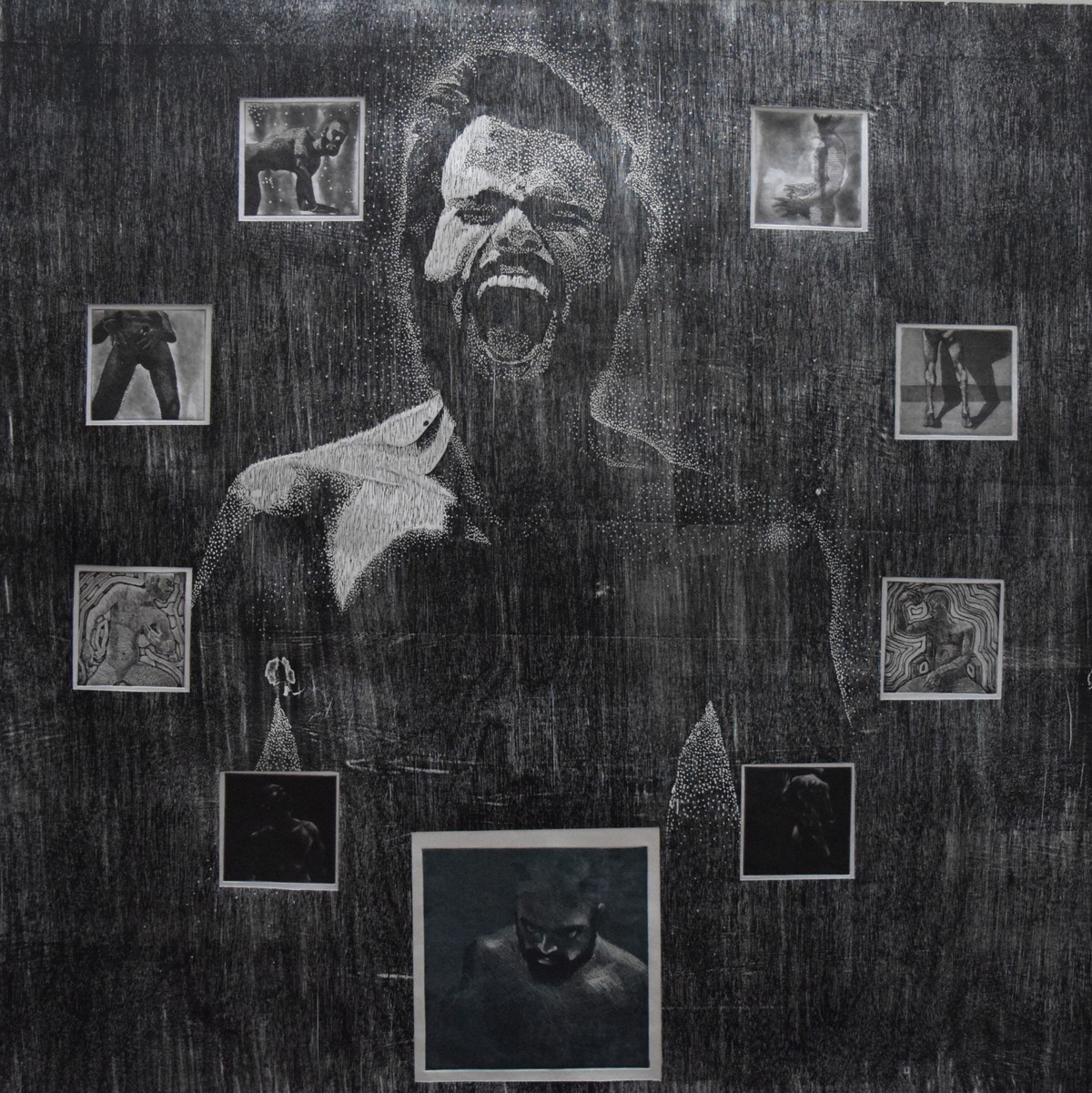 beating addiction by Tarun Sharma, Expressionism Printmaking, Wood Cut on Paper, Gray color