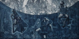 catharsis - expulsion of addiction by Tarun Sharma, Abstract Printmaking, Etching and Aquatint, Blue color