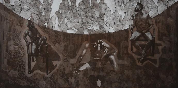 catharsis - expulsion of addiction by Tarun Sharma, Abstract Printmaking, Etching and Aquatint, Brown color
