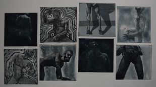 catharsis - expulsion of thoughts by Tarun Sharma, Expressionism Printmaking, Etching and Aquatint, Gray color