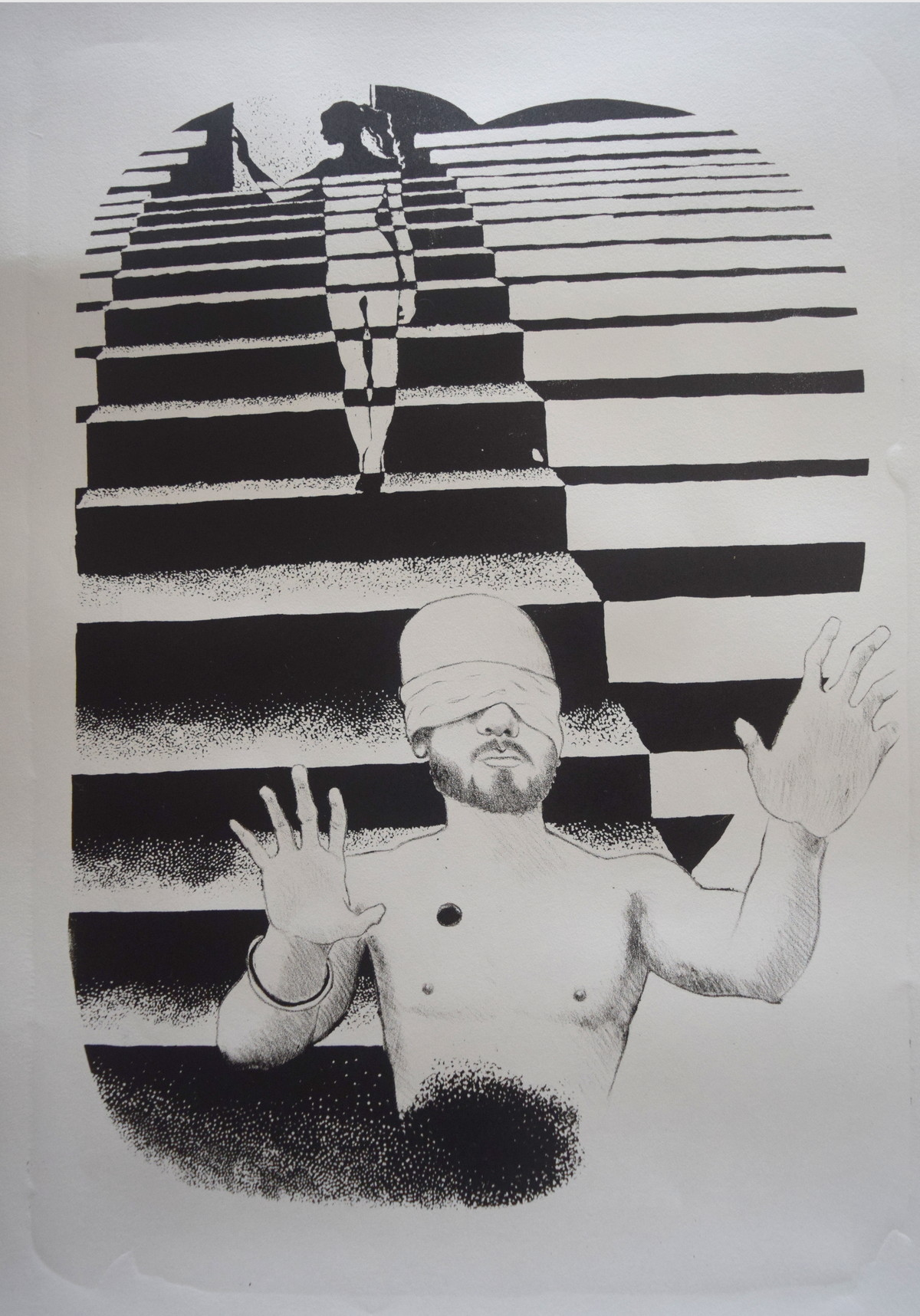 the game of lives by Tarun Sharma, Expressionism Printmaking, Lithography on Paper, Gray color