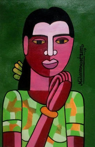 o alochana by Naheem Rustum, Folk Painting, Acrylic on Paper, Green color