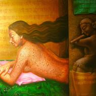 Ref. no. 2955      dipak kundu        listner        acrylic on canvas         36 x 48 in      2008         85 000