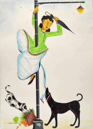 Babu with street dogs by Bhaskar Chitrakar, Traditional Painting, Natural colours on paper, Beige color