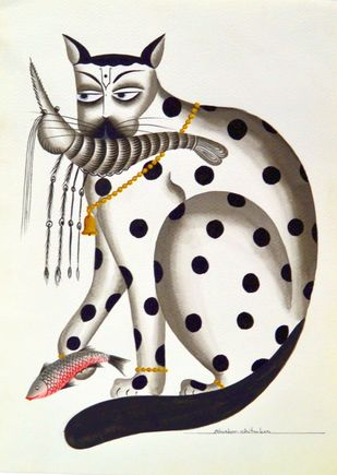 Kalighat Cat by Bhaskar Chitrakar, Traditional Painting, Natural colours on paper, Beige color